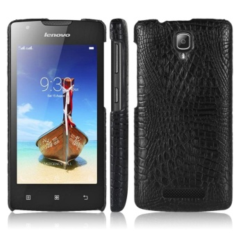 For Lenovo A1000 Crocodile PU Leather Skin Hard Plastic Back Cover Phone Bag Case - intl