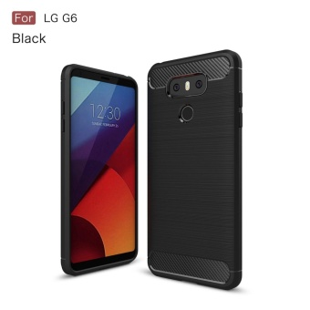 For LG G6 Carbon Fiber Brushed Texture Slim TPU Back Case (Black) - intl