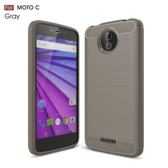 For Motorola Moto C Carbon Fiber Brushed Texture Slim TPU Back Case(Grey) - intl