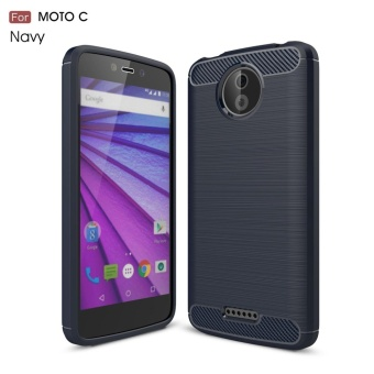 For Motorola Moto C Carbon Fiber Brushed Texture Slim TPU Back Case(Navy) - intl