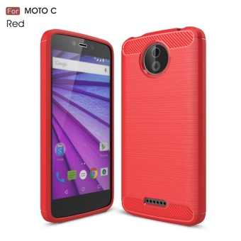 For Motorola Moto C Carbon Fiber Brushed Texture Slim TPU Back Case(Red) - intl