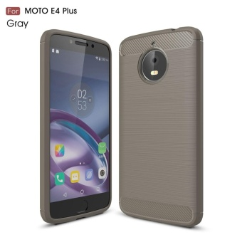 For Motorola Moto E4 Plus Carbon Fiber Brushed Texture Slim TPU Back Case (Grey) - intl