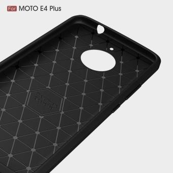 For Motorola Moto E4 Plus Carbon Fiber Brushed Texture Slim TPU Back Case (Navy) - intl - 4