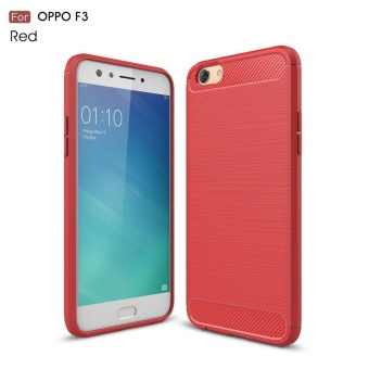 For Oppo F3 Carbon Fiber Brushed Texture Soft TPU Back Case (Red) -intl