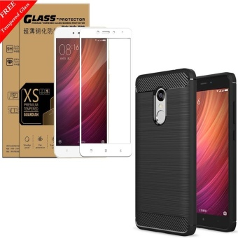 For Redmi Note4 and note 4x(4GB+64GB Mediatek version) Carbon Fiber Shockproof Sweatproof Phone case cover With 3D HD Full Coverage Anti blue-ray Tempered Glass/Anti-Scratch/Bubble free Screen Protector - intl