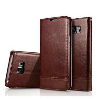 for Samsung Galaxy Note 5 Stand Support + Card Slot + Sling FolioFlip Magnetic PU Leather stitching Cover Phone Wallet Case - intl