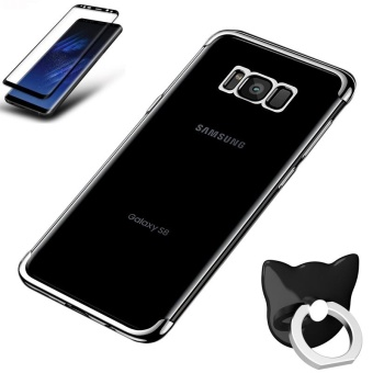 For Samsung Galaxy S8 Clear Soft Tpu Phone Case with Fing RingHolde with Anti Blue-Ray Eye Protect Full Cover Tempered Glass /Plating Crystal Transparent Shockproof Phone Cover Silicone PhoneShell for Samsung Galaxy S8 - intl