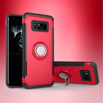 For Samsung Galaxy S8 plus Hybrid Armor Texture Case Anti-slip Anti-fingerprint Anti-scratch Shockproof Carbon Fiber TPU + PC Back Cover with Ring Grip / Stand Holder 6.2inch - intl