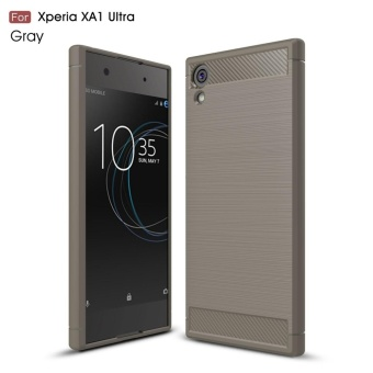 For Sony Xperia XA1 Ultra Carbon Fiber Brushed Texture Slim TPUBack Case (Grey) - intl