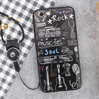 For VIVO Y53 Case Cover New Hot Sell Fashion Ultra-thin 3D StereoRelief Colorful Painting Soft Back Covers/Anti falling PhoneCover/Shockproof Phone case With Metal Ring and Phone Rope (BlackMusic) - intl - 2