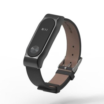 For Xiaomi Mi Band 2 Genuine Leather Strap with Screen FilmScrewless Bracelet For Original Miband 2 OLED Wristbands (Black) -intl