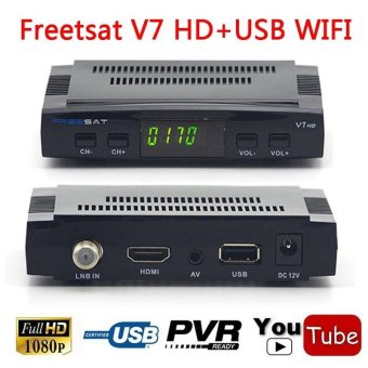 Freesat V7 1080P HD Satellite TV Receiver DVB-S2 Set Top Tv Box Antenna 1080P - intl