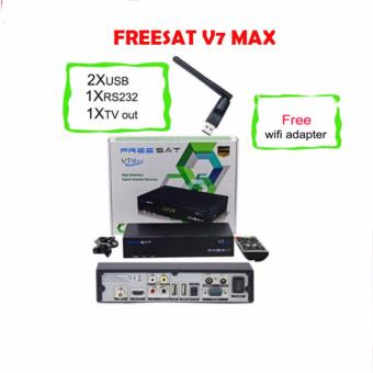 freesat V7 MAX with usb wifi 1080p Full HD DVB-S2 Satellite TV Receiver PowerVu auto roll Biss Key Support Youtube CCcam Newcamd Wifi freesat V7 MAX