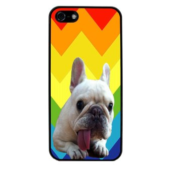 French Bulldog Chevron Pattern Phone Case for iPhone 5C (Black)