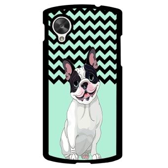 French Bulldog Chevron Pattern Phone Case for LG Nexus 5 (Black)
