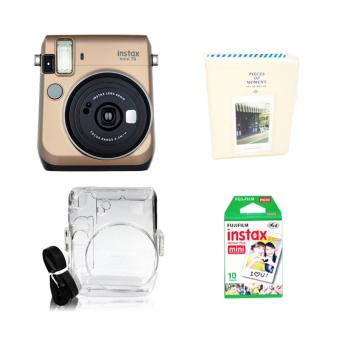Fujifilm Instax Mini 70 Instant Camera (Stardust Gold) with Instax Film 10 Sheets, Crystal Case and Album (White) Bundle