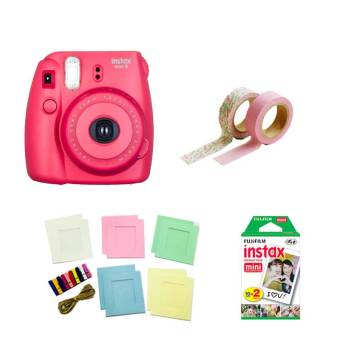 Fujifilm Instax Mini 8 Instant Camera (Raspberry) with Instax FilmTwin Pack, Photo Hangers and Washi Tapes Bundle