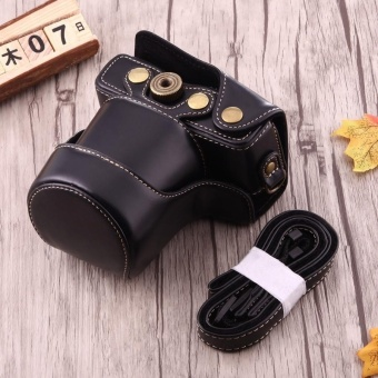 Full Body Camera PU Leather Case Bag With Strap For Canon EOS M10 (Black) - intl
