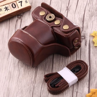 Full Body Camera PU Leather Case Bag With Strap For Canon EOS M10 (Coffee) - intl