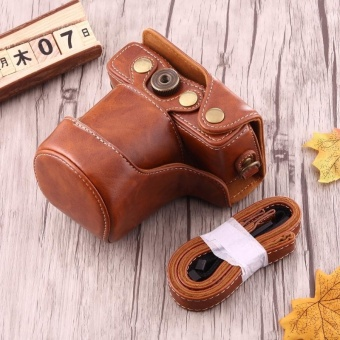 Full Body Camera PU Leather Case Bag With Strap For Canon EOS M10(Brown) - intl