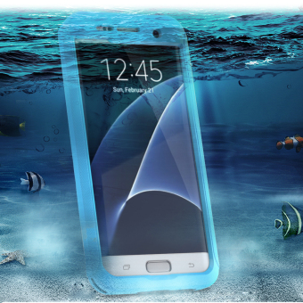Full Body Touch ID Waterproof Shockproof Case for Samsung Galaxy S7Edge - Sky Blue - 2