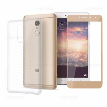 Full Cover Carbon Fiber Soft Edge Tempered Glass (Gold) with Clear Jelly Case for Xiaomi Redmi Note 4