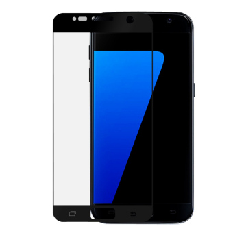 Full Cover Tempered Glass Screen Protector Guard for Samsung GalaxyS7 (Black) - 2