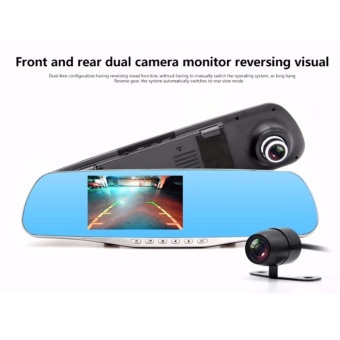 Full HD 1080P Car Dvrs Night Video Recorder Rear View Mirror With Dual Lens Camera Night Vision Dash Cam DVR Digital Dashboard Cam Registrar Dual Lens Car Detector Video Recorder - intl