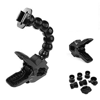 GearUshop 19.5 CM 7 Section Adjustable Jaws Goose Neck Arm Flexible Clamp Mount + Gift Universal Adapter & Phone Holder Kit Set For GoPro Hero 5S 5 4S 4 3+ Camera and Smart Mobile Phones - intl - 5
