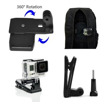 GearUshop Cap Hat Quick Release Clip Mount + 360 Degree Rotative Backpack Strap Fast Clamp Rec-mount Kit Set + GIFT Universal Conversion Screw Adapter & Storage Bag For GoPro Hero 5S 5 4S 4 3+ 3 2 1 Sjcam XiaoMi Yi Action Cameras - intl - 2