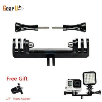GearUshop Tripod Bike Handle Bar Extension Double Arm Dual Mount with 1/4 inch Convertor For LED Light and GoPro Cameras 5S 5 4S 4 3+ 3 2 1 Accessories - intl