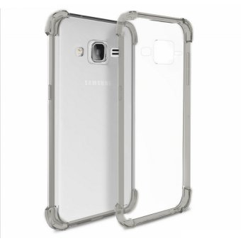 German Import Drop Resistant Silicone Clear Case for Samsung GalaxyJ3 (2016) (Smoke Grey) with Free Tempered Glass (Clear)