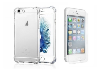 German Import Shockproof Silicone Clear Case for Apple iPhone 5Bundled With Tempered Glass (Clear)