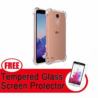 German Import Shockproof Silicone Clear Case For LG Stylus 3 withFREE Tempered Glass (Clear)