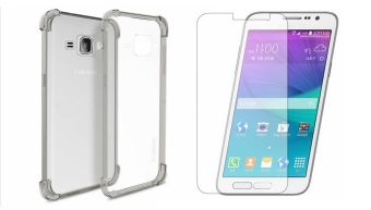German Import Shockproof Silicone Clear Case for Samsung GalaxyJ120F Bundled With Tempered Glass (Smoke Grey)