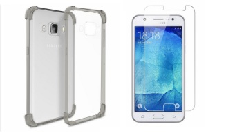 German Import Shockproof Silicone Clear Case for Samsung GalaxyJ510 (2016) Bundled With Tempered Glass (Smoke Grey)