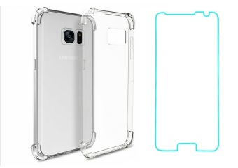 German Import Shockproof Silicone Clear Case for Samsung GalaxyNote 5 Bundled With Tempered Glass (Clear)