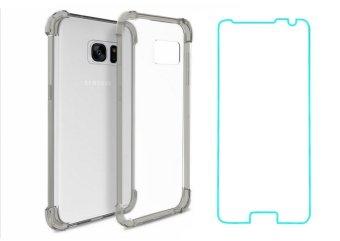 German Import Shockproof Silicone Clear Case for Samsung GalaxyNote 5 Bundled With Tempered Glass (Smoke Grey)