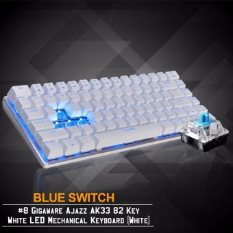 Gigaware Ajazz AK33 #8 82 Key Blue LED Mechanical Keyboard (White) (Blue Switch)