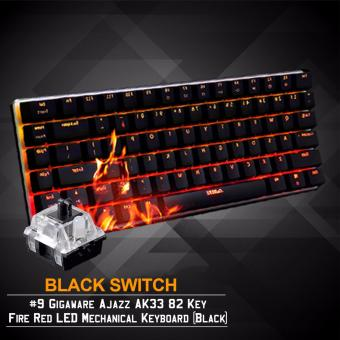 Gigaware Ajazz AK33 #9 82 Key Fire Red LED Mechanical Keyboard(Black) (Black Switch)