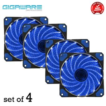 Gigaware Chassis 15 Colorful LED 12 cm Long Cooling Fan 3PIN plus 4P (Blue) set of 4