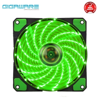 Gigaware Chassis 15 Colorful LED 12 cm Long Cooling Fan 3PIN plus 4P (Green)