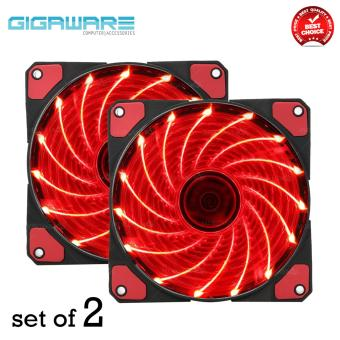 Gigaware Chassis 15 Colorful LED 12 cm Long Cooling Fan 3PIN plus 4P (Red) set of 2