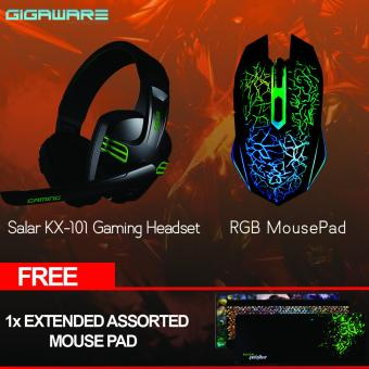Gigaware Gaming Combo Salar Headset + Gaming Mouse with FreeAssorted Extended Gaming Mouse Pad
