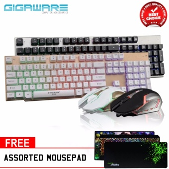 Gigaware LK006 Metal Backlight Gaming Keyboard and Mouse Combo (Black) with Assorted Mousepad