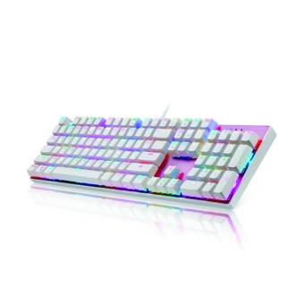 GIGAWARE Motospeed CK104 Full RGB Mechanical Keyboard (Outemu BlueSwitch) (Clicky & Tactile) (white-pink)