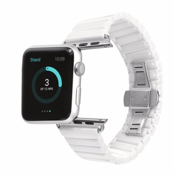 Philippines | Glossy Ceramic Watchband Watch Band Replacement Strap Link Bracelet for Apple Watch iwatch 42mm (White) - intl Price Me