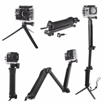 GoPro Accessories 20cm Collapsible 3 Way Monopod Mount Camera Grip Extension Arm Tripod Stand for Gopro Hero 4 2 3 3+ 2 1 SJ4000