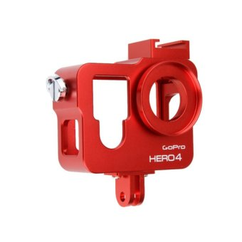 Gopro Hero 4 Aluminum Cage with 37mm UV Filter (Red)