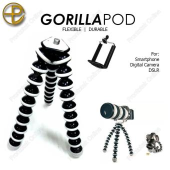 Gorilla Pod Large Octopus Flexible Tripod Stand for Camera and Smartphone (Black) FREE Mobile Phone Holder